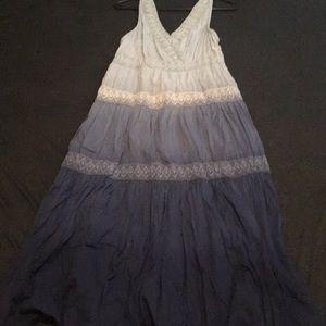 Charter Club sz 6p Blue  Embroidered Maxi Dress